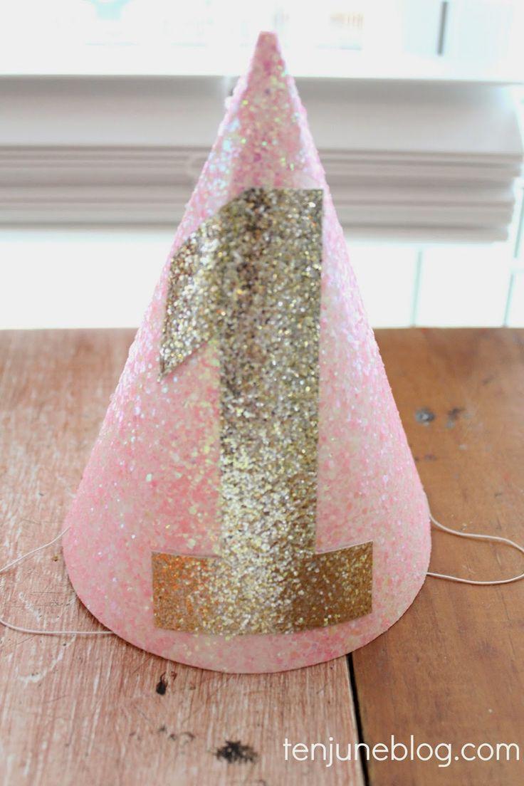 DIY glitter birthday hat  Ten June: Winter ONEderland Little Girl's Pink + Gold First Birthday Party
