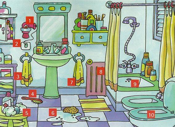 El cuarto de baño (dibujo original con números para consejos de seguridad // Se puede utilizar para el vocabulario)