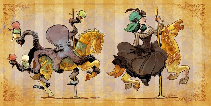 BetweenMirrors.com | Alt Art Gallery: Brian Kesingers Tea Girls and Other Steampunk Tales