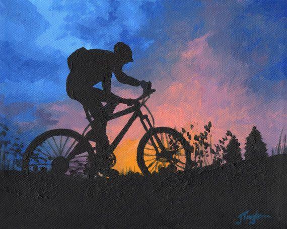 Mountain Bike Art  Bike Art Print  Sunset by JuliaTaylorFineArt