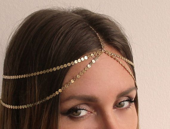 Headpiece, Layering Chain Headpiece, Bridal Wedding Headpiece, Bohemian Headpiece, Boho Headpiece