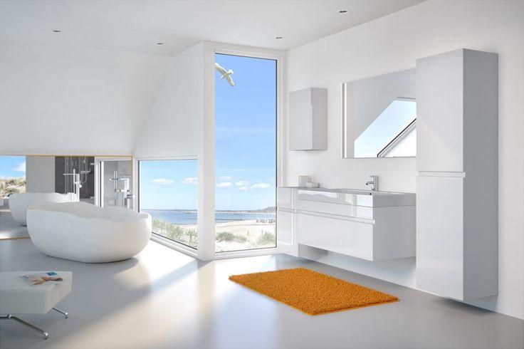 Badmöbelset PANDORA 5tlg - Hochglanz weiß - 100 cm mit Spiegel