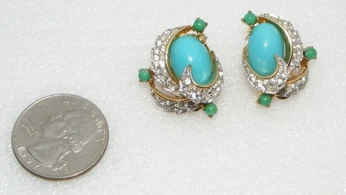 SOLD Vintage JOMAZ faux turquoise glass & rhinestone EARRINGS clip ons costume