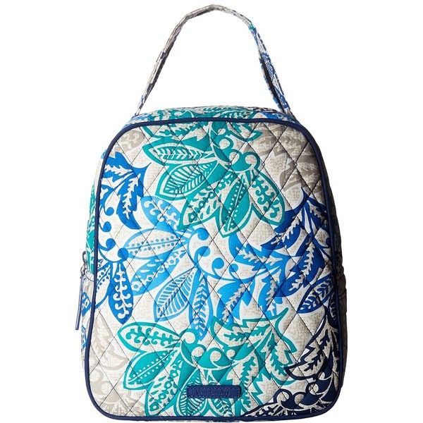 Vera Bradley Lunch Bunch (Santiago) Bags ($34) ❤ liked on Polyvore featuring bags, strap bag, vera bradley, vinyl bag, blue bag and zip top bag