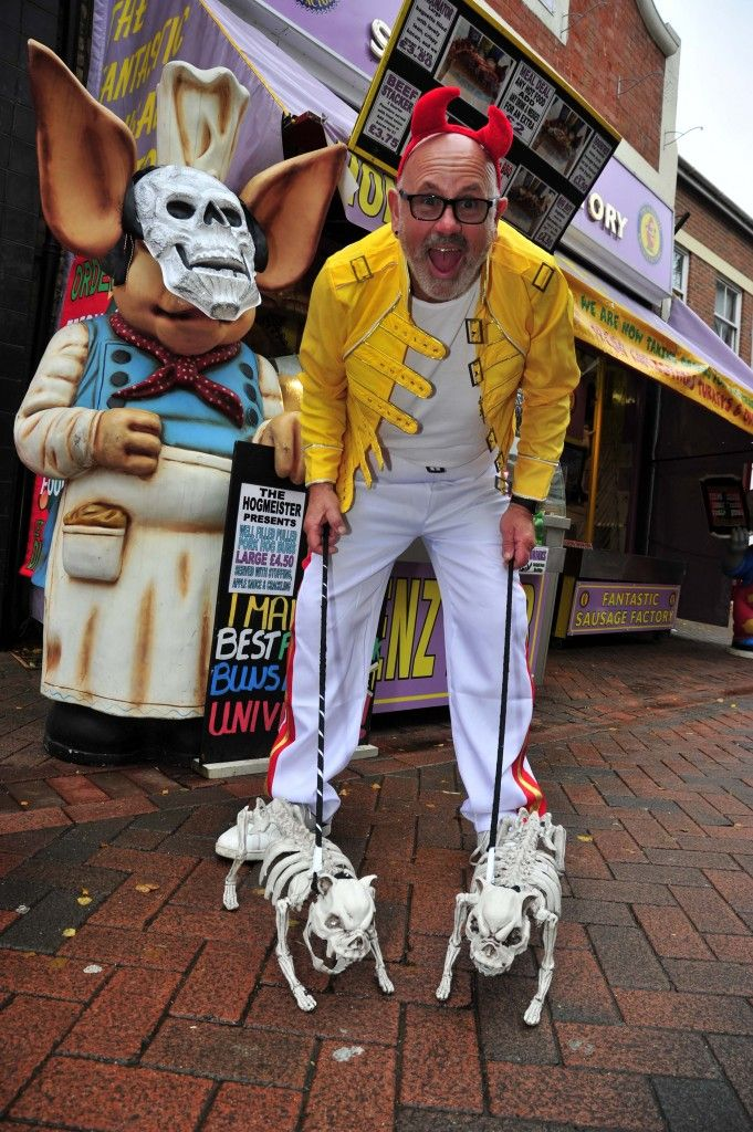 Freaky Friday in Weymouth town centre on 30th October 2015.   Dennis Spurr at the Fantastic Sausage Factory - Picture: Graham Hunt.