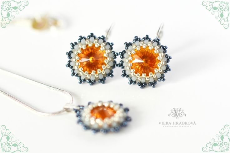 Orange / Grey / Hematit - set of earrings (rhodium hooks) and pendant on silver plated snake chain - made with Swarovski crystal elements by VEHA on Etsy