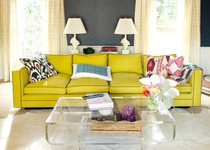 Incredible Living Room Furniture Used Yellow Sofa And Artistic Throw Pillows For Couch Design Ideas Home Inspiration Square Form