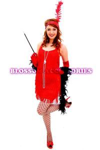 Women's Costumes :: 1920s Costumes :: Flapper :: 1920s Charleston Red Flapper 20s Chicago Gangster Fancy Dress Party Costume - Fancy Dress C...