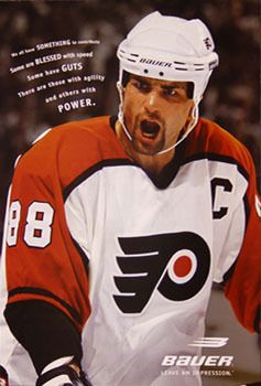 Eric Lindros GUTS Vintage 1998 Bauer Skates Philadelphia Flyers Poster - Sold for $18.00 July 2013