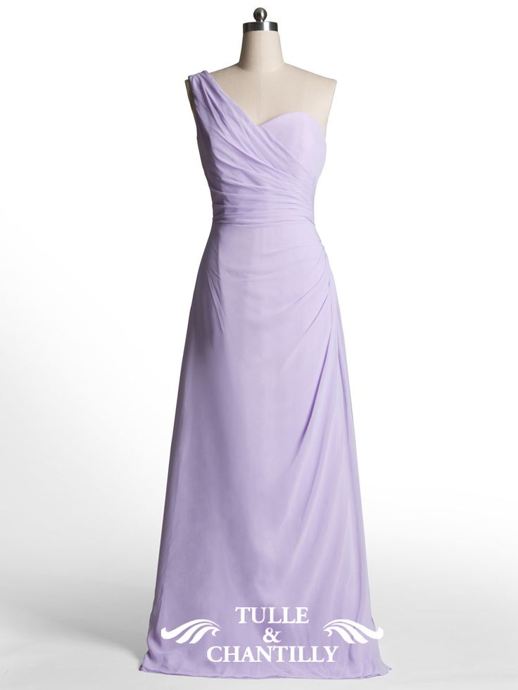 Simple Column One Shoulder Warped Long Pastel Lilac Bridesmaid Dress 1