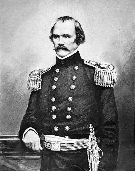 """Albert Sidney Johnston (February 2, 1803 – April 6, 1862) Considered by Confederate President Jefferson Davis to be the finest (& the second-highest ranking) general officer in the Confederacy before the emergence of Robert E. Lee, he was killed early in the Civil War at the Battle of Shiloh & was the highest-ranking officer, Union or Confederate, killed during the entire war. Davis believed the loss of Johnston """"was the turning point of our fate"""". Johnston was born in Washington, Kentucky."""