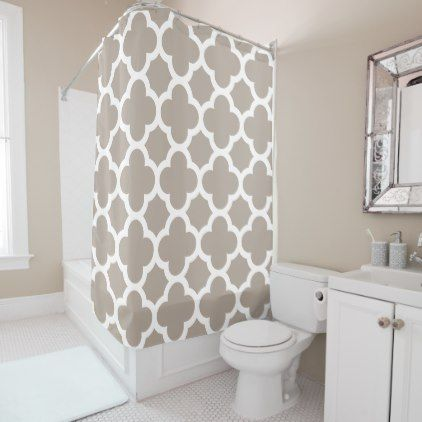 Chic Beige Gray Retro Cute Trellis Pattern Shower Curtain - classic gifts gift ideas diy custom unique