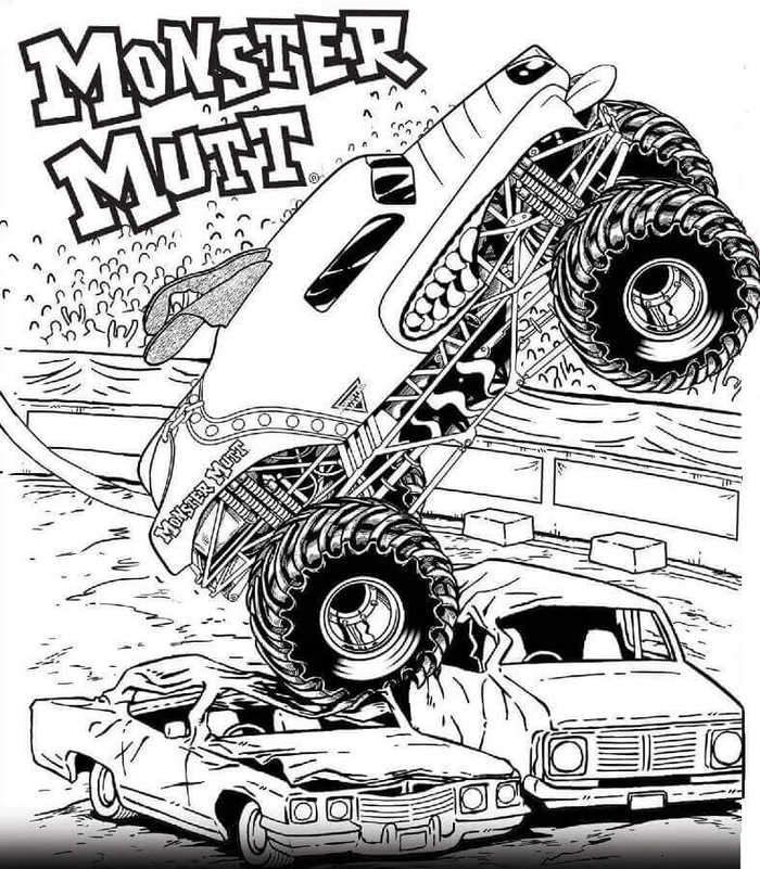 Free Printable Monster Jam Coloring Pages Monster Mutt In 2020 Monster Truck Coloring Pages Truck Coloring Pages Cars Coloring Pages