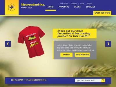 Жёлтый с синими цветами адаптивный Bootstrap 3 шаблон для сайта онлайн магазина, предлагаются необходимые страницы для установки.