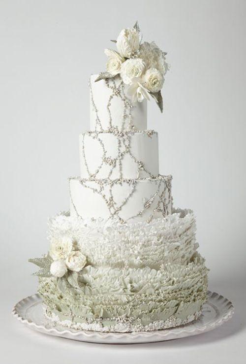 Maggie Austin beaded and ruffled #weddingcake | Brides.com