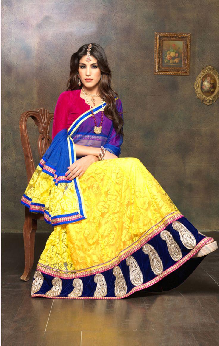 Thankar yellow and pink lehenga choli