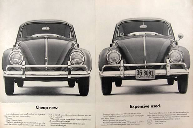 1962 Volkswagen Beetle Ad Cheap New Expensive Used