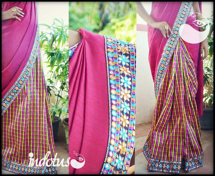 Double shaded majenta pink raw and multicolor checked semi raw silk pleats finished with mirror work borders Blouse - Purple/Yellow semi raw silk For order pls mail to indotus.couture@gmail.com