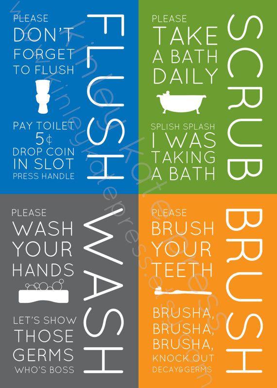 Set of 4 BATHROOM Subway Art, Boys Bathroom Prints, Subway Art 5x7 Print, Grey Print, Orange Print, Flush, Scrub, Wash, Brush on Etsy, $30.00