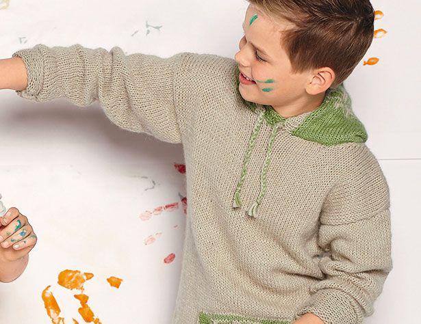 Схема и описание вязания на спицах пуловера с карманом и капюшоном для мальчика из журнала Verena №2/2016