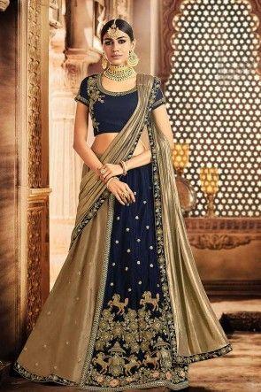dd753c7a4c36bc #Shopkund #Wedding #Dresses #uk - Grey & Navy Blue color Art Silk & Velvet Lehenga  Choli