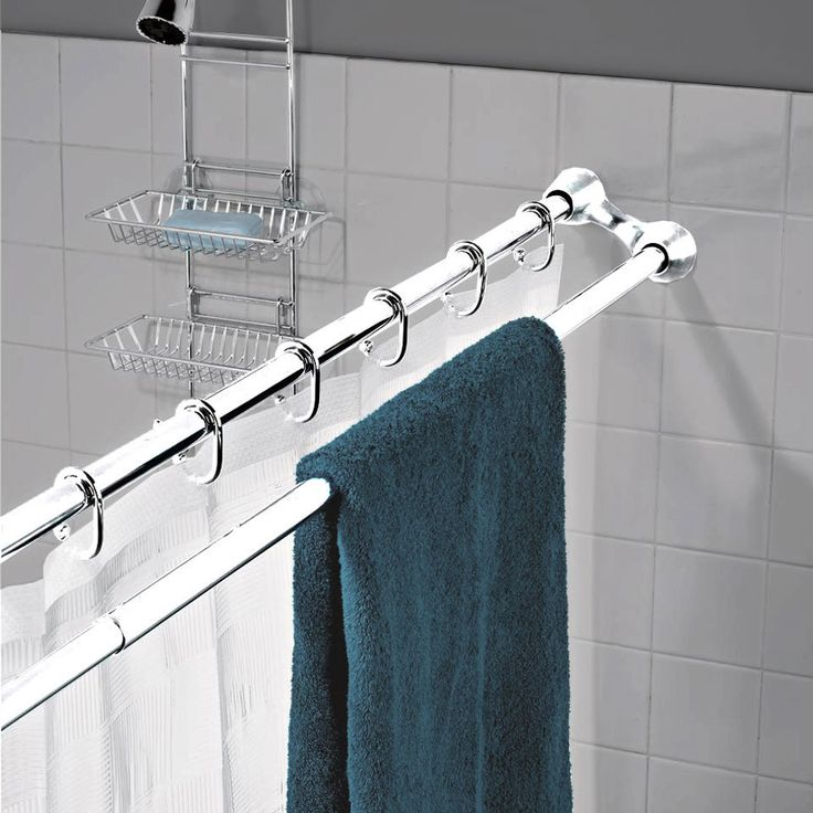 double shower rod for extra towel space