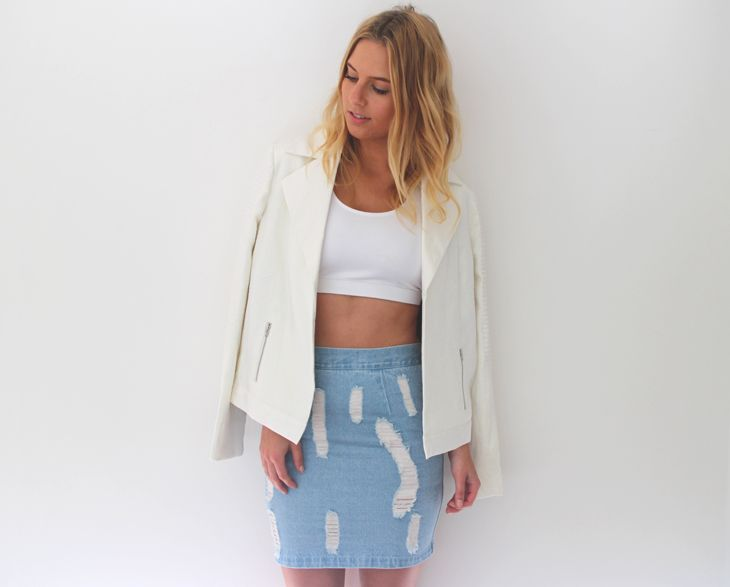 Lisa Hamilton from See Want Shop wearing RUNNING BARE 'Keyhole Action' Back Crop and CAMEO 'Battle Born' Bomber.