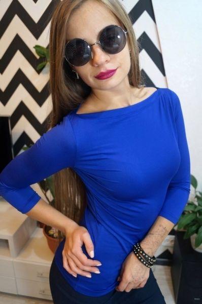 Кофточка женская облегающая вырез лодочка офисный стиль синий