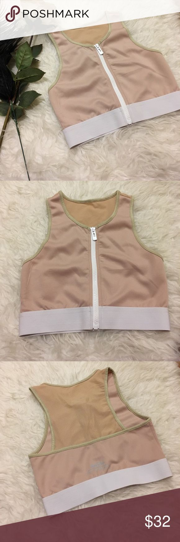 Beige zip up front workout crop top Bought and never wore :( beautiful just not my style. I have matching leggings if you're interested. No longer sold anymore ☺️ store: Maniére De Voir Tops Crop Tops