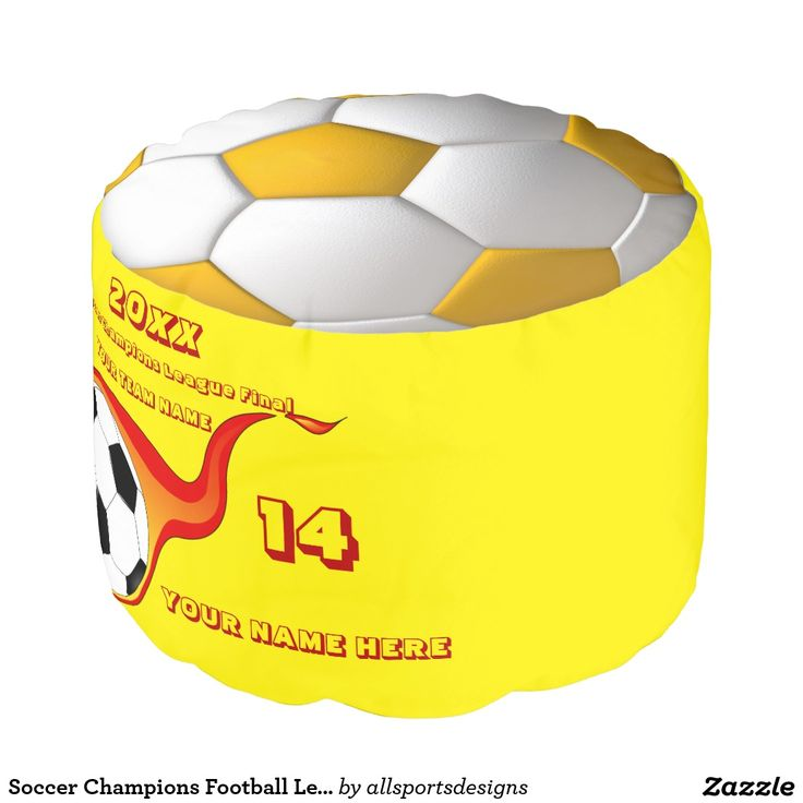 Soccer Champions Football League Final Yellow Round Pouf Custom burning soccer ball foot cushion with Name of team,Name of player's,Number of jersey and the Year on it.Yellow and white soccer ball on the top and bottom and a black and white football with a orange flame on the side. Yellow background color can be change to team color. The red text can be changed as well. This pouf is great for a gift.Delete any or all text. IMPORTANT Personalize each soccer stool,ONE at a Time, ADD that item…