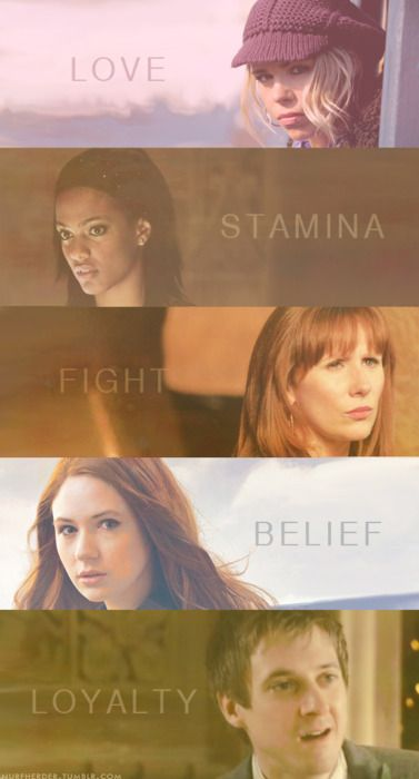 the Doctor's companions #Rose #Martha #Donna #Amy #Rory
