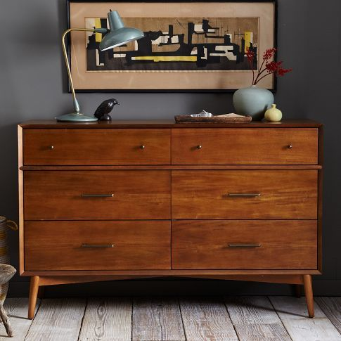 Simple, sophisticated storage. Inspired by American modern design, the Mid-Century 6-Drawer Dresser is crafted of FSC®-certified wood. Antique bronze-finished knobs on the drawers provide an unexpectedly luxe twist to the clean-lined silhouette.