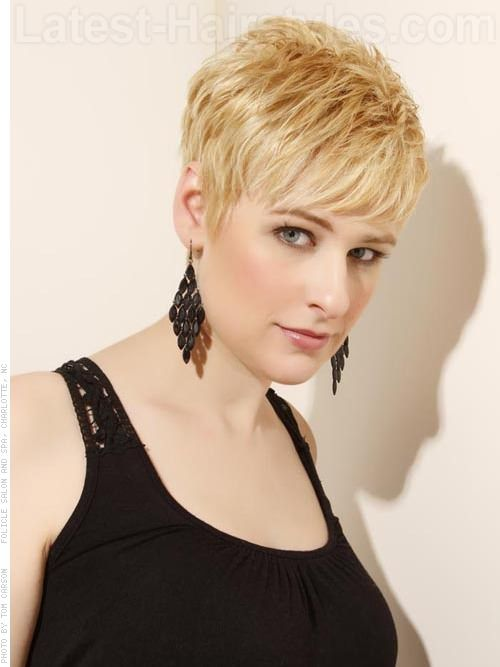 Pixie Shag Cut with Longer Bangs I like this look. Need to go super blonde. I wanted my hair this short but the stylist didn't do it.