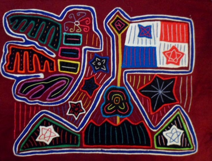 Kuna Indian Hand-Stitch Panama Flag Mola Art-Panama 15111016L