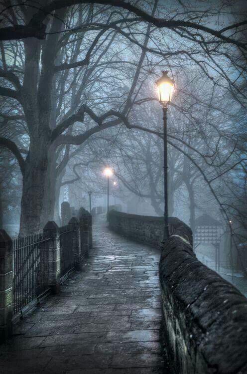 Foggy Atmospheric Lantern Walkway, Chester