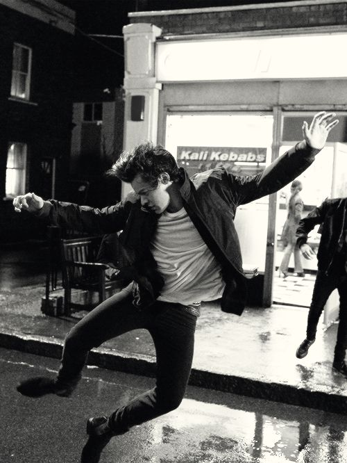 "Harry during the filming of the video for ""Midnight Memories""."