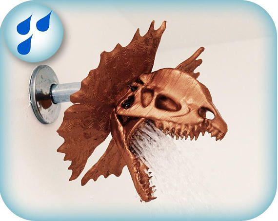 Bring Jurassic Park Straight To Your Bathroom With This 3d Printed Water Spitting Dino Features A Detailed Dilophosaur Shower Heads Chrome Spray Paint Prints