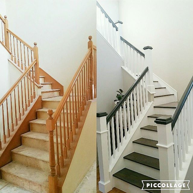 Thought I'd share a before and after pic of our staircase. We changed out the balusters for more modern square ones, painted the hand rail grey and updated the Newell post. Oh and of course got rid of the nasty carpet and replaced it with grey wood stairs. But if you've been following me for a while you know I love board and batten so we will be adding that soon♡♡♡ #remodel #stairs #woodstairs #makeovermonday #sunshinesunday #sundaysimplicity #moveitupmonday #multigrammonday #myneutralmonday …