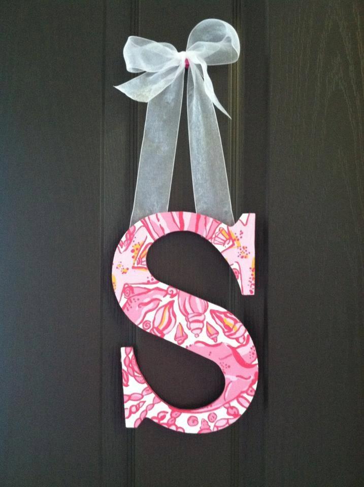 Custom Lilly Pulitzer Inspired Wooden Letter {to hang on dorm room door}