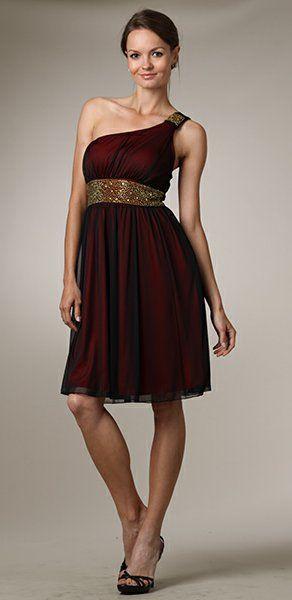 Graduation Red Knee Length Dress One Shoulder Strap Black Overlay