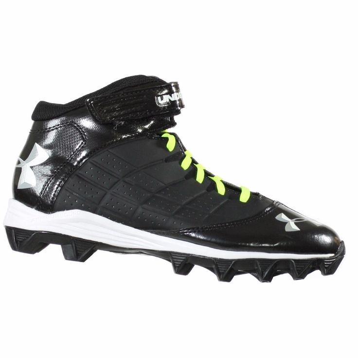 Boy's Under Armour Crusher Mid Football Cleat Black Size 4.5. UA custom laces match back to your team uniform - 5 colors included with each pair. Power strap locks the foot in and provides excellent support and stability. Combination of perforated and patent synthetic upper is all about durability and ventilation. Die-cut EVA footbed provides excellent cushion and durability for all-game comfort. Rubber molded outsole provides aggressive traction without weighing you down.