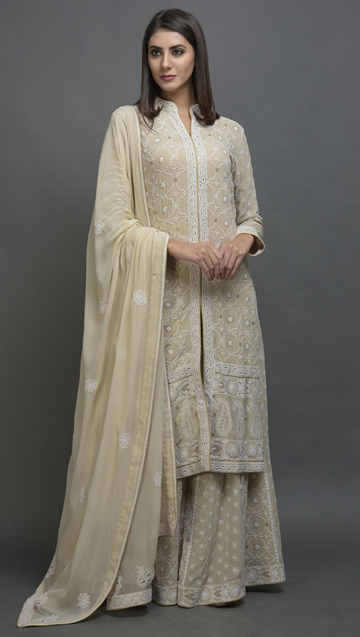 573dd85986 Champagne Beige Hand Embroidered Chikankari With Kamdani Sharara Suit