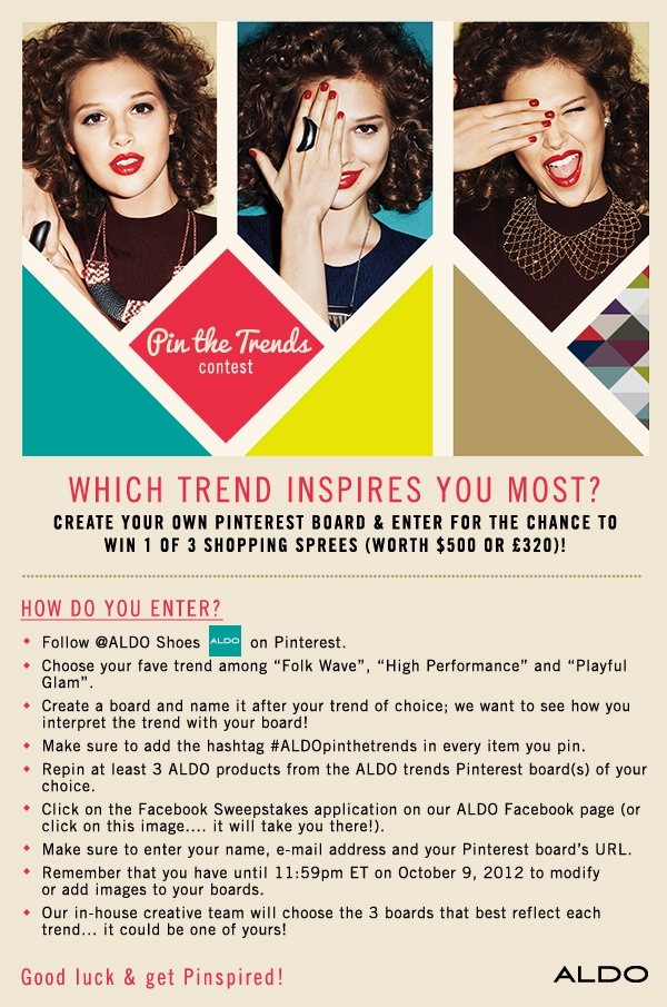 This contest is closed. The winners will be announced on October 17, 2012: A L D Opinthetrends, Folk Wave, Aldopinthetrends, Aldo Shoes, Trends Contest, Aldo Contest, Wave Trend, Pinterest Contests, Contest Rules