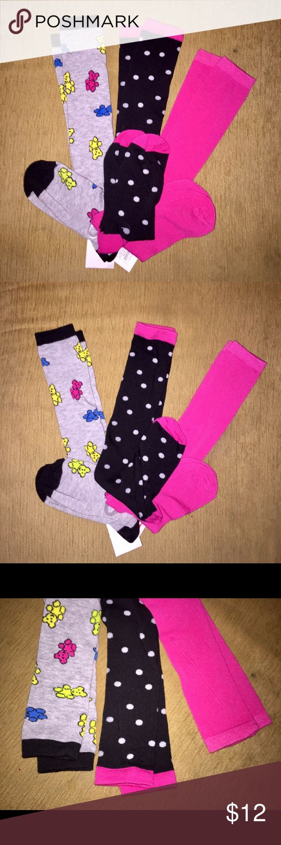 Knee Socks Bundle Brand new sassy knee sock trio: 1) gray w/ neon blue, yellow & pink Grateful Dead-inspired dancing bears, black toe, heel, cuff. 2) black w/ white polka dots, hot pink toe, heel, cuff. 3) solid hot pink. All have stretchy ribbed cuffs & a nice, soft flat-knit feel. Tags attached. I have way too many pairs already! Accessories Hosiery & Socks
