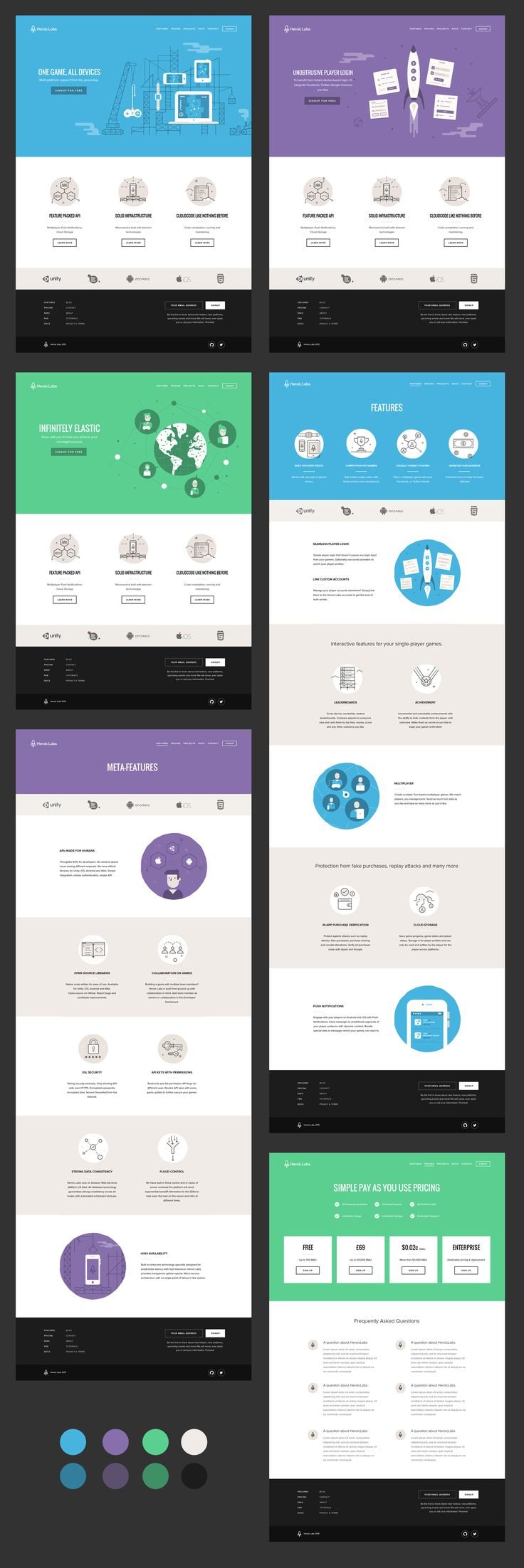 Heroic Labs new marketing website. Ui design concept and illustration by Oli Lisher.