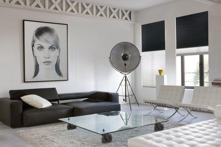 Copahome raamdecoratie rolgordijn combo transparant wit black out zwart/ La décoration de fenêtre. Store enrouleurs combo transparent blanc occultant noir