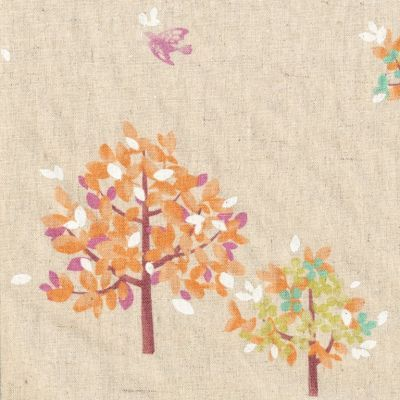 Hummingbird Trees Orange on Natural Stunning whimsical tree and hummingbird design printed on a medium weight, textured cotton/linen blend. Ideal weight for home decorating!  These designs and colours would work beautifully as cushions, lampshades or curtains.