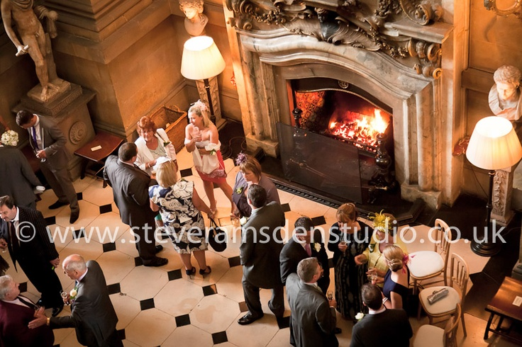 The ornate open fireplace in Castle Howard's Great Hall