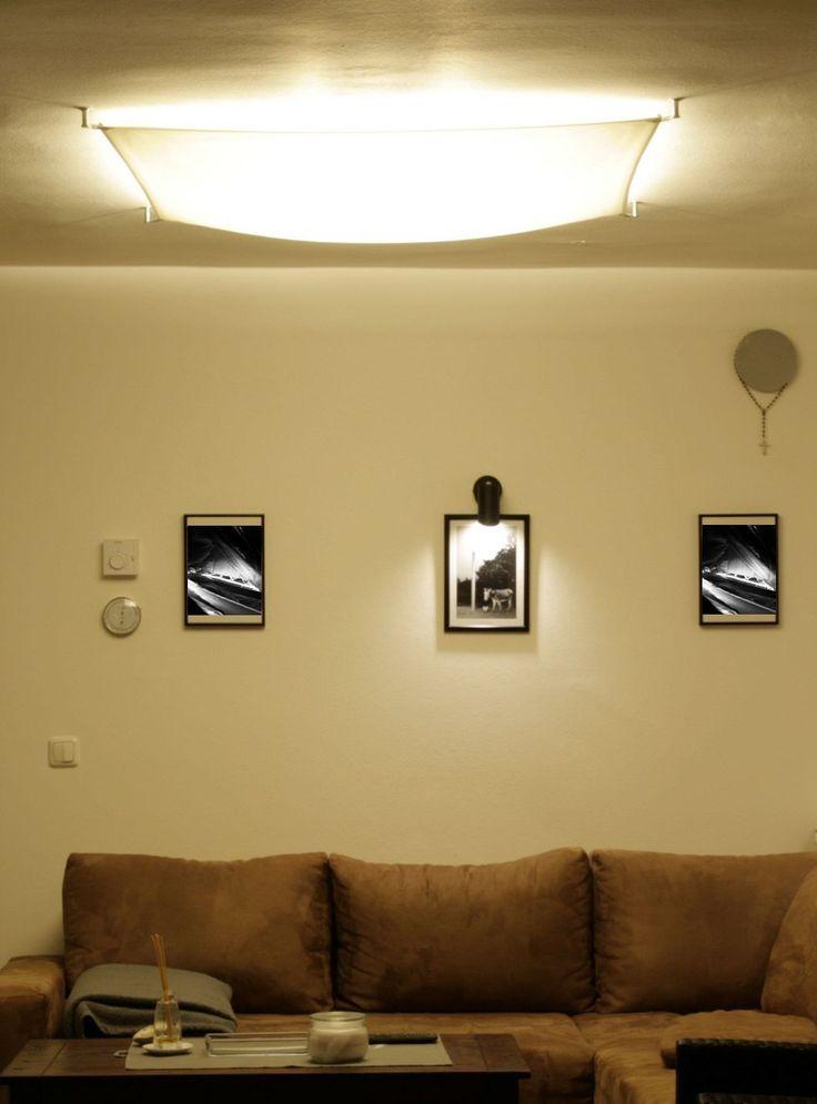 Segeltuchlampe Mit E27 LED Lampen Sorgt Im Wohnzimmer Fr Sanftes Indirektes Deckenlicht Segelstoff Farben