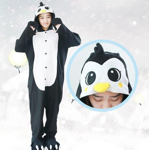 Zwart Penguin Pyjama Animal Kostuum Kid Volwassen Pyjama Rompertjes Cartoon Nachtkleding Hansop